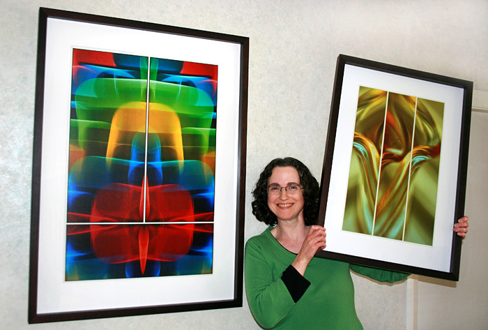 Jane Trotter with her Abstract Fine Art Prints