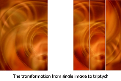 Transformation from single image to triptych - Abstract Art by Jane Trotter