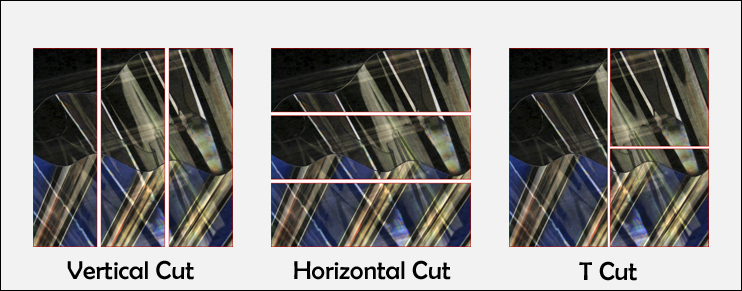 Three examples of cutting an image to create a Triptych
