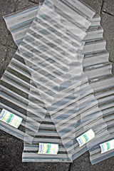 Overlapping corrugated plastic sheets - the idea for 'Corrugation' and 'Over the Shoulder' Triptych