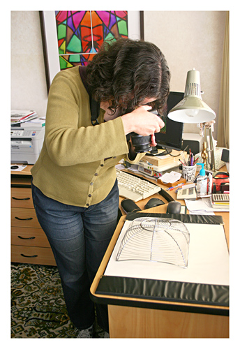 Jane photographing the wire bowl used in 'Golden Spirals'