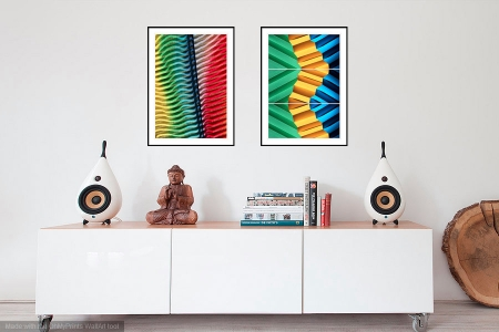 Colour Contours and Follow the Yellow Brick Road - On the Wall. Fine Art Prints from Abstracted Reality