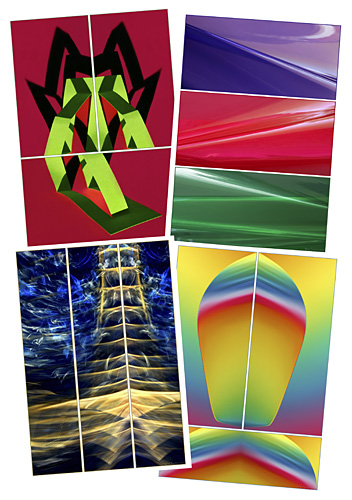 A collection of Abstract Triptychs by Jane Trotter
