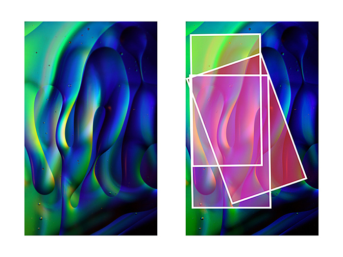 Source image and cropping detail for the triptych 'Undulation'