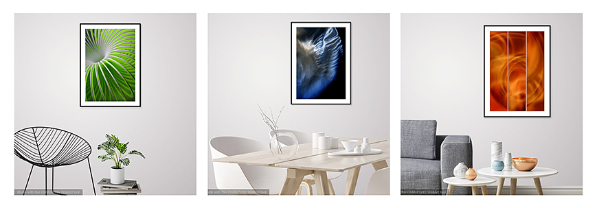 Three Prints shown In Situ - Create your own Interior Design