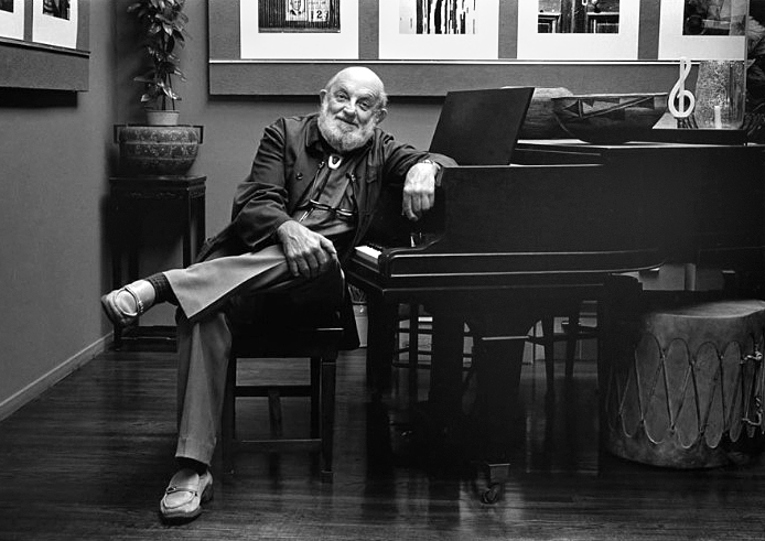 Ansel Adams in his piano studio